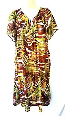 Women's Size Large Housedress Gown Moomoo Green Brown Gold Polyester