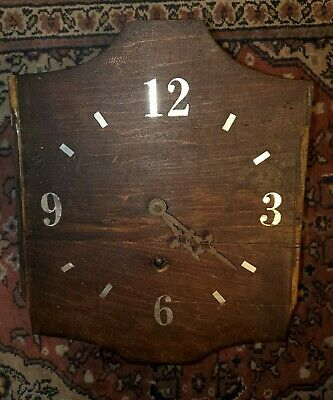Antique Gears Clock Wooden Deco Art Rare Htf Metal 1930s Time Wall Vintage