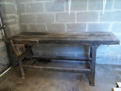 vintage workbench cast iron frame T J Syer Findsbury