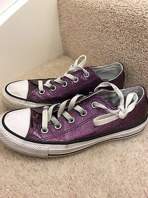 Girls Converse Trainers Size 4 Purple Glitter Europe 36.5 All Star Low Sneakers