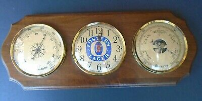 Vintage FOSTER FOSTER'S LAGER Barometer Thermometer Clock Weather Station