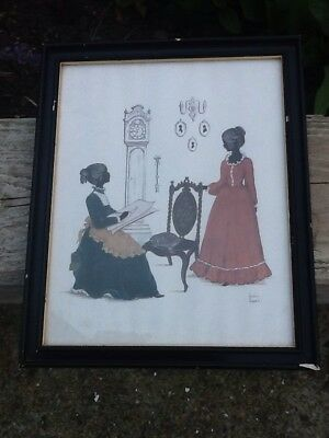 Vintage Sillouette In Original Frame With Original Backing.some Chips To Frame.