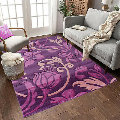 Purple Pink Rug Modern Design High Quality Thick Floral Rugs Runners Carpets Mat