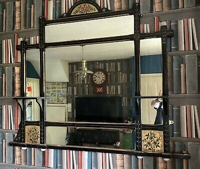 Superb Victorian Large Gold & Ebonised Hand Painted Wooden Overmantle Mirror