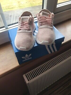 Adidas Pink & White Girls Trainers Size 11 In Box Worn Twice
