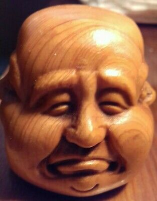 Vintage Chinese Beatifully Hand Carved Boxwood Faces Of Buddha Good Luck