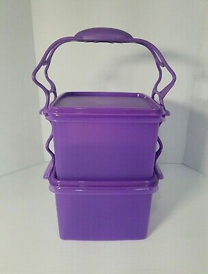 TUPPERWARE Square Keeper Goody Box Color 8 Cups Purlicious w/ Carolier
