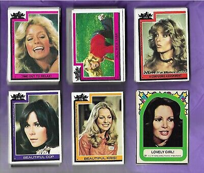 1977 Charlie's Angels Trading Cards 112 cards (104 diff) + 6 stickers most EX-NM