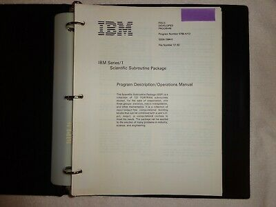 IBM Vintage Series 1 Scientific Subroutine Package Excellent Rare