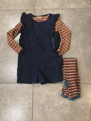 Girl Denim Playsuit 3 Piece Set, Top And Matching Tights 5-6 Next