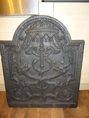 17 century FRENCH ANTIQUE, LARGE / HEAVY CAST IRON FIRE-BACK