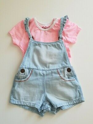 Baby girls Next summer clothes 6-9 months dungaree shorts and T