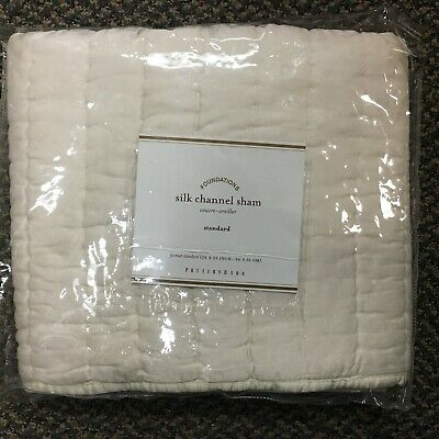 "Pottery Barn /""Pink//Ivory Striped/"" Silk Standard Sham"