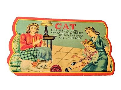Vintage Sewing Needle Book CAT  Occupied Japan