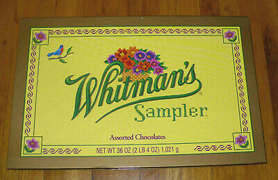 """EXTRA LARGE 23"""" x 15"""" empty WHITMAN CANDY SAMPLER Cross Stitch Box Gag Gift -EXC"""