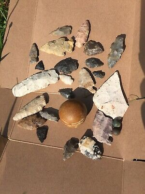 Authentic arrowhead LOT of 25 Pieces, Game balls, knives, Arrowheads