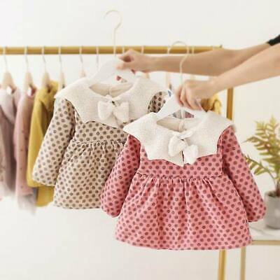 Warm Toddler Girl Padded Floral Baby Dress Dresses Casual Clothes Winter Kid
