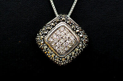 Sterling Silver w Marcasite & Cubic Zirconia Square Halo Necklace - B2357 ES