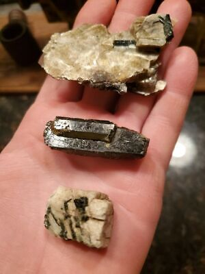 Lot Of 3 Tourmaline Specimens From The Stirckland Quarry In Connecticut Ct!