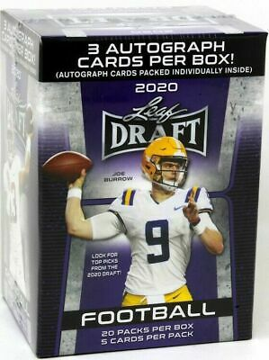 2020 LEAF DRAFT FOOTBALL PREMIUM HOBBY New Sealed 100ct. BLASTER BOX.