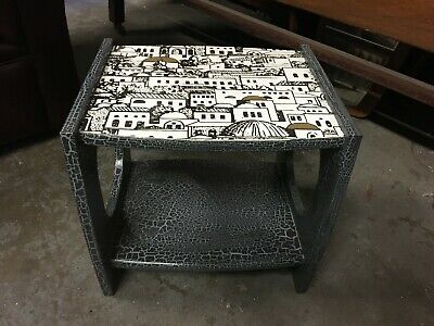 Decorative Small Painted Retro Wine or End Table with Fornasetti Style Decoupage