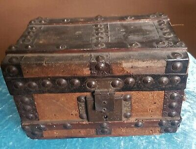 Small Antique (17Th.c. Style) Wooden  Strong Box Wood Leather Cloth & Iron C1840