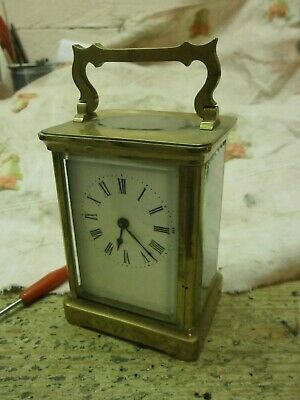 Carriage Clock French Movement & Case Brass handle parts spares bevelled glass