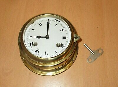 Vintage Brass Ships Porthole Key Clock Roman Numerals Spares/Parts With Key