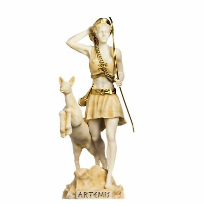 Goddess Artemis Diana Greek Statue Nature Moon Gold Tone Alabaster 13inch