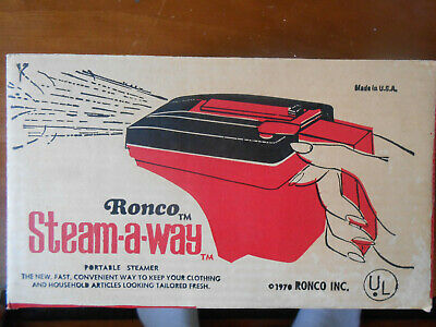 1970 Ronco Steam-A-Way Portable Steamer Wrinkle Remover Unopened Original Box NR
