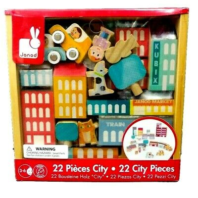 Janod Kubix Blocks 22 City Pieces Colorful Wooden Building Toys Puzzle Game New