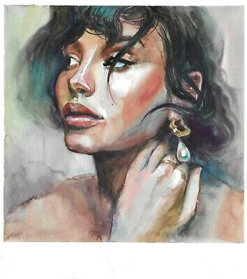 original drawing 30 x 33 cm 19WJ art watercolor female portrait Signed 2020