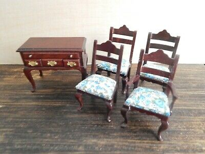 Vintage Dollhouse Miniature Lot Four Dining Chairs and Sideboard Server 1:12