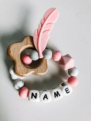 💗Personalised Baby Teether, Silicone Ring, Chew Toy, Rattle, Girl & Boy