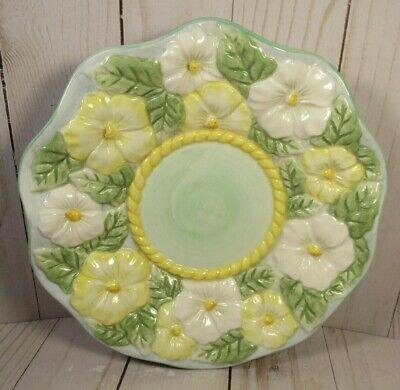 """3D Flower Shallow Dish, Footed, Unique & Stunning, 7 3/4"""" Wide 1 3/4"""" Tall"""