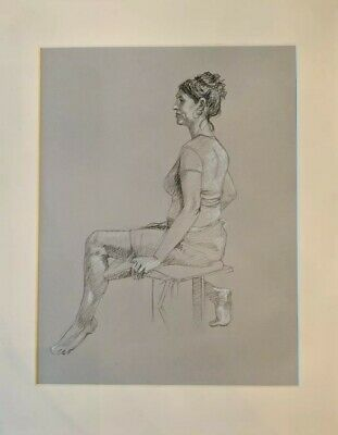 Charcoal and pencil ..Figure of a woman, study measures 16 x20 matted a classic!