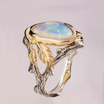 925 Silver Ring Woman Man White Fire Opal Moon Stone Wedding Engagement Size 8