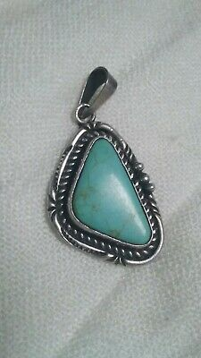 Vintage Sterling Silver mexican Turquoise Pendant