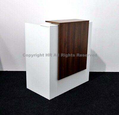White Reception Desk And Walnut Panel Drawer Unit Salon Hair Office Beauty