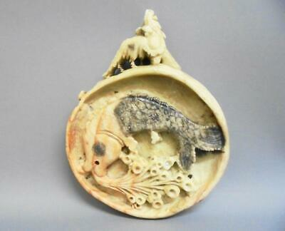 Antique Chinese Soapstone Carved Medallion - Carp and Imperial Guardian Lion