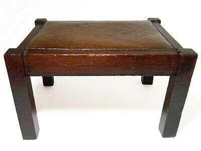Arts & Crafts/Mission Antique Leather Upholstered Sm Dk Stained Oak Foot Stool
