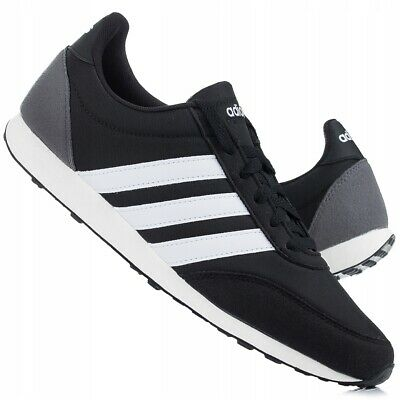 ADIDAS V RACER 2.0 White Black B75796 Casual Trainers Sizes