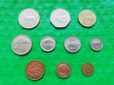 Irish Decimal Coin Collection. One Punt To Half Penny. Ireland
