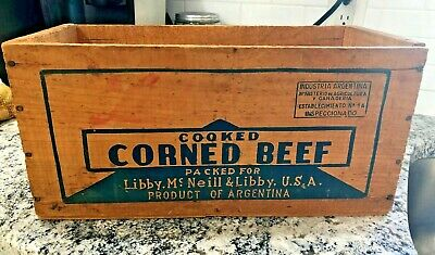 """Vintage Libby's  Cooked Corned Beef Wooden Shipping Crate 15""""x 8""""x 7"""""""