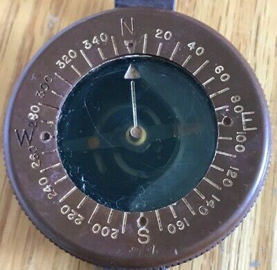 Vintage US Army Airborne Taylor Wrist Compass with Original Leather Strap