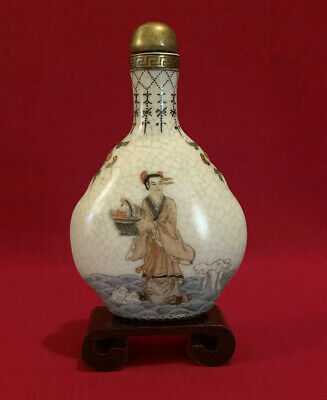 Antique Chinese Hand painted Snuff Bottle gilded on Fine Cracked Porcelain,Stand