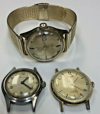 Lot 3 Vintage Timex Date 21 Jewels Selfwinding Men's Watch's New Band & Bulova