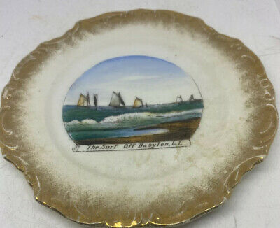 """Vintage Souviner Plate Of """"The Surf Off Babylon, L.I."""" Wheelock Made In Germany."""
