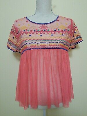 Lulumari Women's Size Medium Pink Mesh Top Short Sleeves NWT