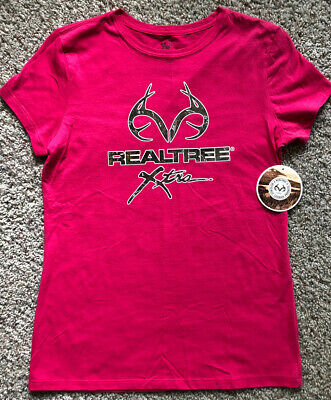Women's REALTREE Size Medium 8-10 Pink T-shirt Summer Camouflage Hunting Top New